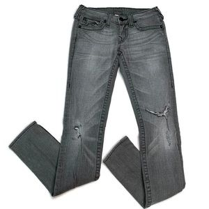 True Religion Gray Distressed Skinny Jeans 27 Long